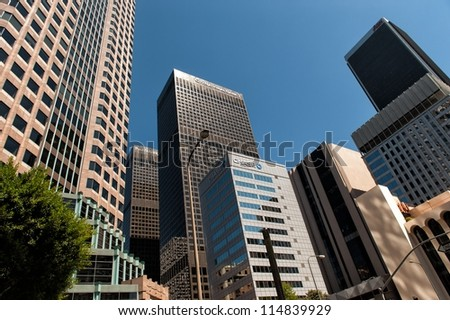 LOS ANGELES, CA, USA - SEPTEMBER 24: Skyscrapers in downtown LA on September 24, 2012 in Los Angeles, CA. Downtown Los Angeles is the central business and financial district in Los Angeles. - stock photo