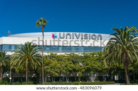 LOS ANGELES, CA/USA - SEPTEMBER 11, 2016: Univision Los Angeles broadcast facilities and logo. Univision Communication is a United States Spanish language broadcast television network.