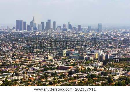 Los Angeles, CA, USA - 26th May 2013: Los Angeles panoramic view in a sunny day