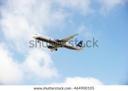 LOS ANGELES/CALIFORNIA - AUG 5, 2016: American Airlines (US Airways) Airbus 321 commercial aircraft approaching runway for a landing at Los Angeles International Airport, Los Angeles, California USA