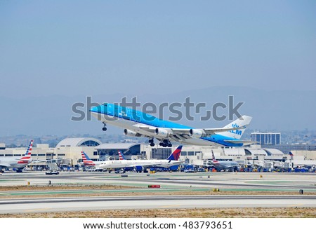 LOS ANGELES/CALIFORNIA - AUG.14, 2016: KLM Royal Dutch Airlines Boeing 747-406 commercial aircraft is airborne as it departs Los Angeles International Airport, Los Angeles, California USA