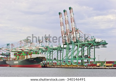LOS ANGELES/CALIFORNIA - AUGUST 6, 2015: Taiwan's Evergreen Marine container vessel being loaded at the Port of Los Angeles, the largest port in U.S. Aug. 6, 2015 in San Pedro, California USA