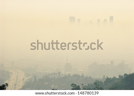 LOS ANGELES, CALIFORNIA - CIRCA 1980's: Smoggy day in Los Angeles, CA - stock photo