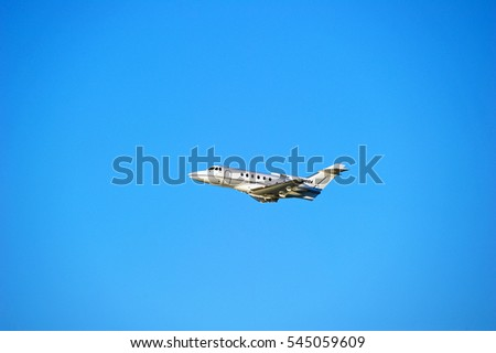 LOS ANGELES/CALIFORNIA - DEC. 17, 2016: Corporate owned British Aerospace HS 125-700A fixed wing aircraft is airborne as it departs Los Angeles International Airport, Los Angeles, California USA