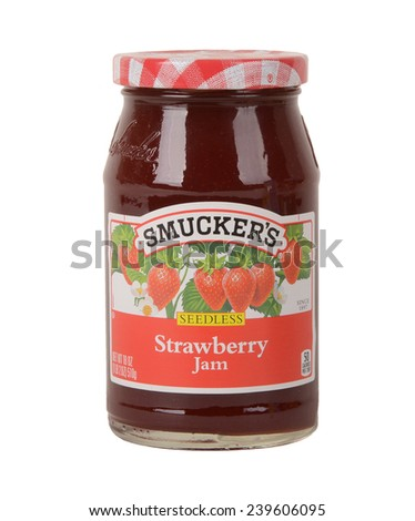 Los Angeles,California Dec 9th 2014:  Nice image of a package of Emergen C Vitamin drink Nice isolated Jar of Smuckers Strawberry Jam - stock photo