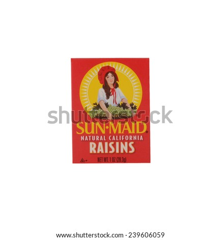 Los Angeles,California Dec 9th,2014:: Nice isolated Image of a box of Sunmaid raisins - stock photo