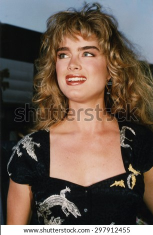 LOS ANGELES, CALIFORNIA - exact date unknown - circa 1990 - Brooke Shields arriving at a celebrity event - stock photo