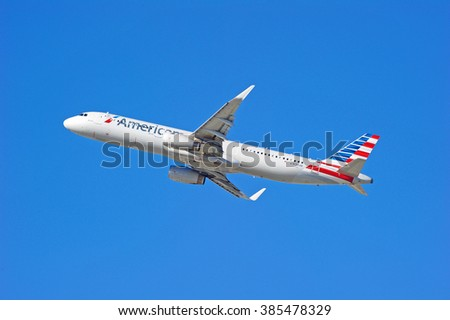 LOS ANGELES/CALIFORNIA - FEB. 21, 2016: American Airlines Airbus 321-231 is airborne as it departs Los Angeles International Airport, Los Angeles, California USA - stock photo