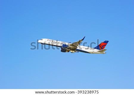 LOS ANGELES/CALIFORNIA - FEB. 21, 2016: Delta Airlines Boeing 757 is airborne as it departs Los Angeles International Airport, Los Angeles, California USA   - stock photo