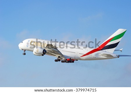 LOS ANGELES/CALIFORNIA - FEB. 21, 2016: Emirates Airlines Airbus A380-861 as it departs Los Angeles International Airport in Los Angeles, California, USA  - stock photo