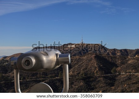 Los Angeles, California, January 1, 2016: Hollywood sign from a viewer, located in Mount Lee, stretches 45 feet tall and 350 feet long. Editorial use only. - stock photo