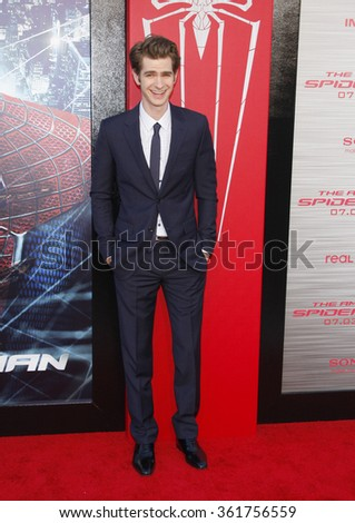 """LOS ANGELES, CALIFORNIA - June 28, 2012. Andrew Garfield at the Los Angeles premiere of """"The Amazing Spider-Man"""" held at the Westwood Village Theater, Los Angeles.   - stock photo"""