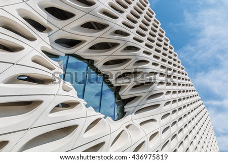 LOS ANGELES, CALIFORNIA - JUNE 5, 2016:  Architectural detail of The Broad, a contemporary art museum in Los Angeles, California, home to 2000 works of art in the Broad collection.   - stock photo