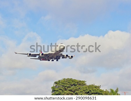 LOS ANGELES/CALIFORNIA - JUNE 13, 2015: Asiana Cargo commercial jet on approach to runway at Los Angeles International Airport in Los Angeles, California, USA
