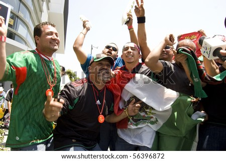 LOS ANGELES, CALIFORNIA-JUNE 17: Mexican fans celebrate World Cup win over France June 17, 2010 in Los Angeles, California.