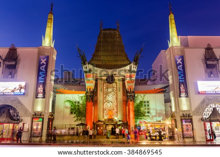 LOS ANGELES, CALIFORNIA - MARCH 1, 2016: Grauman's Chinese Theater on Hollywood Boulevard. The theater has hosted numerous premieres and events since it opened in 1927. - stock photo