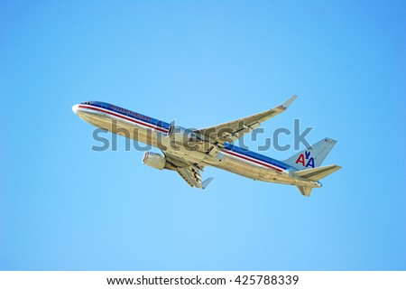 LOS ANGELES/CALIFORNIA - MAY 22, 2016: American Airlines Boeing 767-323(ER) commercial aircraft is airborne as it departs Los Angeles International Airport, Los Angeles, California USA