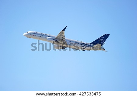 LOS ANGELES/CALIFORNIA - MAY 21, 2016: Delta Air Lines Boeing 757 is airborne as it departs Los Angeles International Airport, Los Angeles, California USA - stock photo