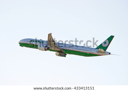 LOS ANGELES/CALIFORNIA - MAY 22, 2016: Eva Air Boeing 777-300(ER) commercial aircraft is airborne as it departs Los Angeles International Airport, Los Angeles, California USA - stock photo