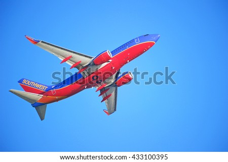 LOS ANGELES/CALIFORNIA - MAY 22, 2016: Southwest Airlines Boeing 737 is airborne as it departs Los Angeles International Airport, Los Angeles, California USA - stock photo