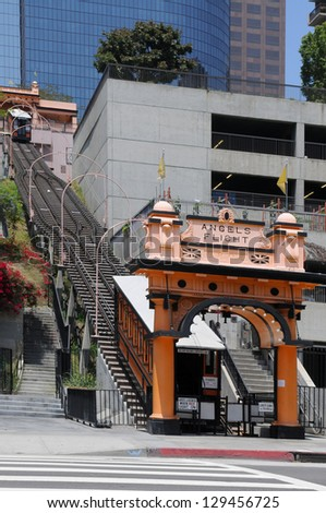 LOS ANGELES, CALIFORNIA - MAY 21: The Angels' Flight cable car carries passengers up and down a steep hill in Los Angeles on May 21, 2012.