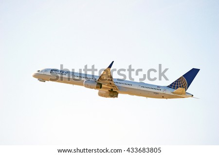 LOS ANGELES/CALIFORNIA - MAY 22, 2016: United Airlines Boieng 757 commercial aircraft is airborne as it departs Los Angeles International Airport, Los Angeles, California USA  - stock photo