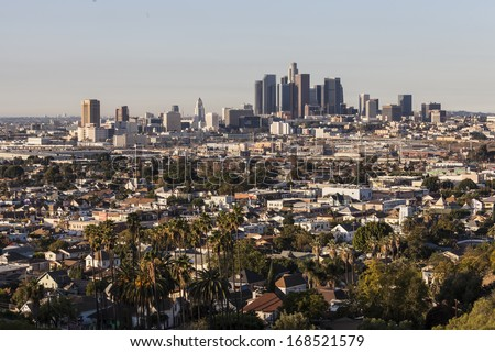 LOS ANGELES, CALIFORNIA - Nov 24:  Early morning view of the historic Lincoln Heights neighborhood and modern downtown Los Angeles towers.