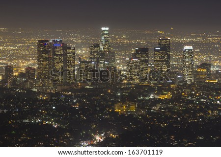 LOS ANGELES, CALIFORNIA - NOV 11:  Night view of downtown Los Angeles.  Building boom increases downtown residential units 15% in two years to 30,600 on November 11, 2013 in Los Angeles, California.   - stock photo