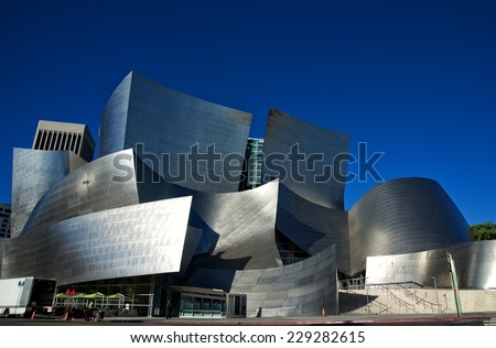 LOS ANGELES, CALIFORNIA - NOVEMBER 03, 2014: Exterior of the Walt Disney Concert Hall in of Los Angeles, designed by Frank Gehry. It opened on 2003, as the home of the Los Angeles Philharmonic.