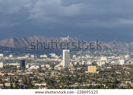 LOS ANGELES, CALIFORNIA - November 1, 2014:  Storm clouds over Hollywood and the city of Los Angeles.   - stock photo