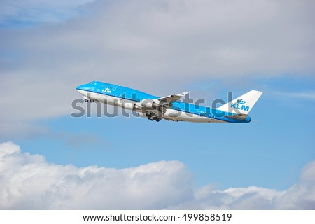 LOS ANGELES/CALIFORNIA - OCT. 16, 2016: KLM Royal Dutch Airlines Boeing 747 aircraft is airborne as it departs Los Angeles International Airport in Los Angeles, California USA