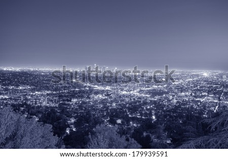 Los Angeles, California skyline in the twilight - stock photo