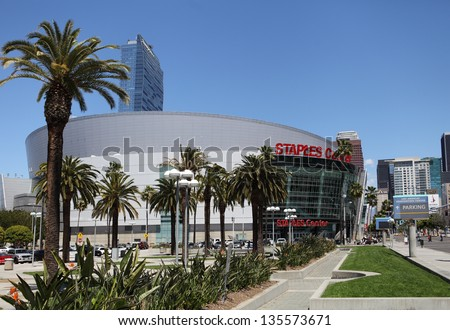 LOS ANGELES, CALIFORNIA, USA - APRIL 16, :The Staples Center in Downtown Los Angeles on April 16, 2013. It is 950,000 SF and is home to the Lakers team and seats up to 19,060 for basketball - stock photo