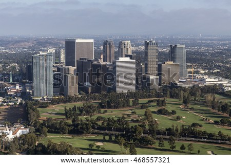 Los Angeles, California, USA - August 6, 2016:  Afternoon aerial view of Century City area of Los Angeles, California.
