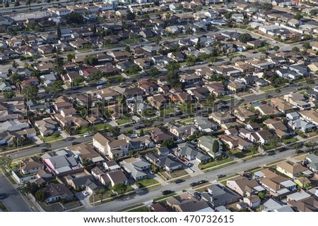 Los Angeles, California, USA - August 6, 2016:  Afternoon aerial view of older middle class residential streets in Los Angeles County.