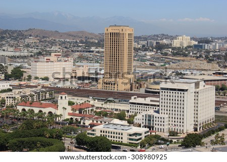 Los Angeles, California, USA - August 14, 2015: Union Station, the largest railroad passenger terminal in the Western U.S., and Metro, the public transportation operating agency for Los Angeles