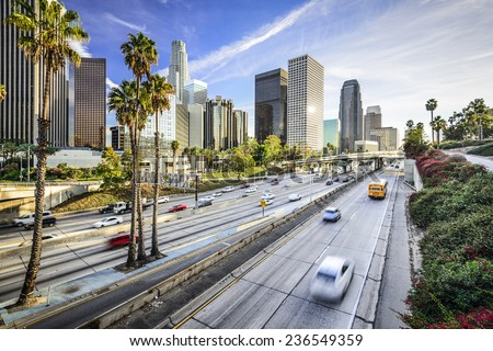 Los Angeles, California, USA downtown cityscape. - stock photo
