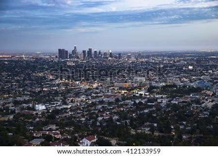 Los Angeles, California, USA downtown cityscape, skyline at night