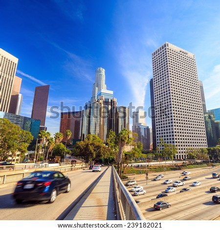 Los Angeles, California, USA downtown cityscape with blue sky. - stock photo