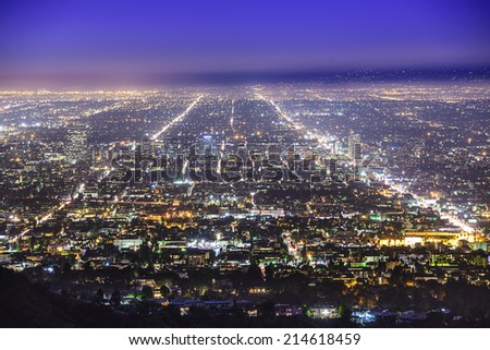 Los Angeles, California, USA downtown skyline at night.