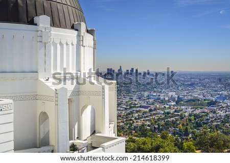 Los Angeles, California, USA downtown skyline viewed from Griffith Observatory. - stock photo