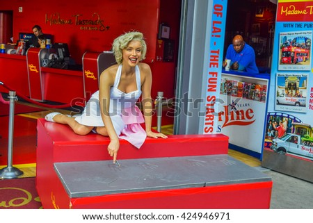 Los Angeles, California, USA . January 16, 2016 marilyn monroe The Hollywood Walk of Fame stretches for 15 blocks of sidewalk on Hollywood Boulevard. Madame Tussauds Hollywood wax museum - stock photo