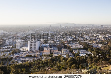 LOS ANGELES, CALIFORNIA, USA - January 1, 2015:  Smoggy haze filled morning sky above Hollywood and West Hollywood in Southern California.   - stock photo