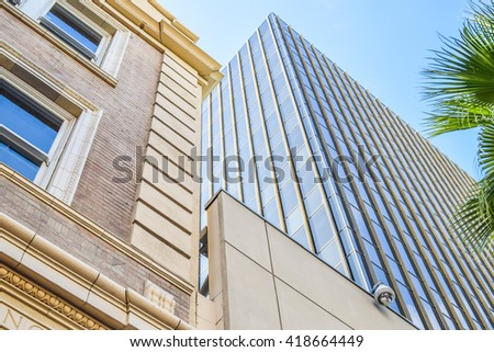 Los Angeles, California, USA . January 16, 2016: Walk of Fame at sunset on Hollywood Boulevard, abstract view of a building - stock photo