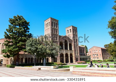Los Angeles, California, USA - July 9. 2015: Royce Hall at the University of California Los Angeles (UCLA) campus includes an 1800 seat auditorium. - stock photo