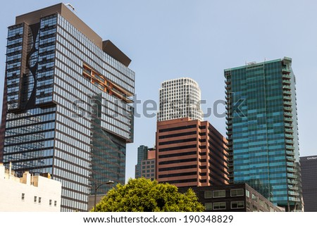LOS ANGELES, CALIFORNIA/USA - JULY 28 : Skyscrapers in the Financial district of Los Angeles California on July 28, 2011