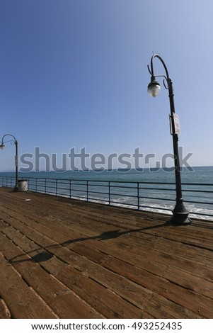 LOS ANGELES, CALIFORNIA, USA - JUN 03, 2015 - antique pole on pier santa monica