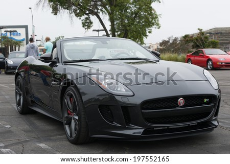 LOS ANGELES, CALIFORNIA - USA - JUNE 8, 2014: Jaguar V8 R on exhibition at the annual event Supercar Sunday on June 8, 2014 in Los Angeles, USA. - stock photo