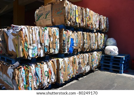 LOS ANGELES, CALIFORNIA, USA - JUNE 7 : Recycling center on Vanowen Street in Los Angeles collects 5000 cartoon boxes  on June 7, 2011. Recycling is a key component of modern waste reduction. - stock photo