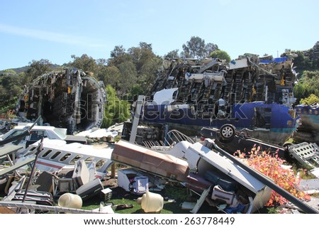Los Angeles, California, USA - March 12, 2015: Airplane Crash Scene from War of the Worlds movie is shown in studio tour at Universal Studios Hollywood.